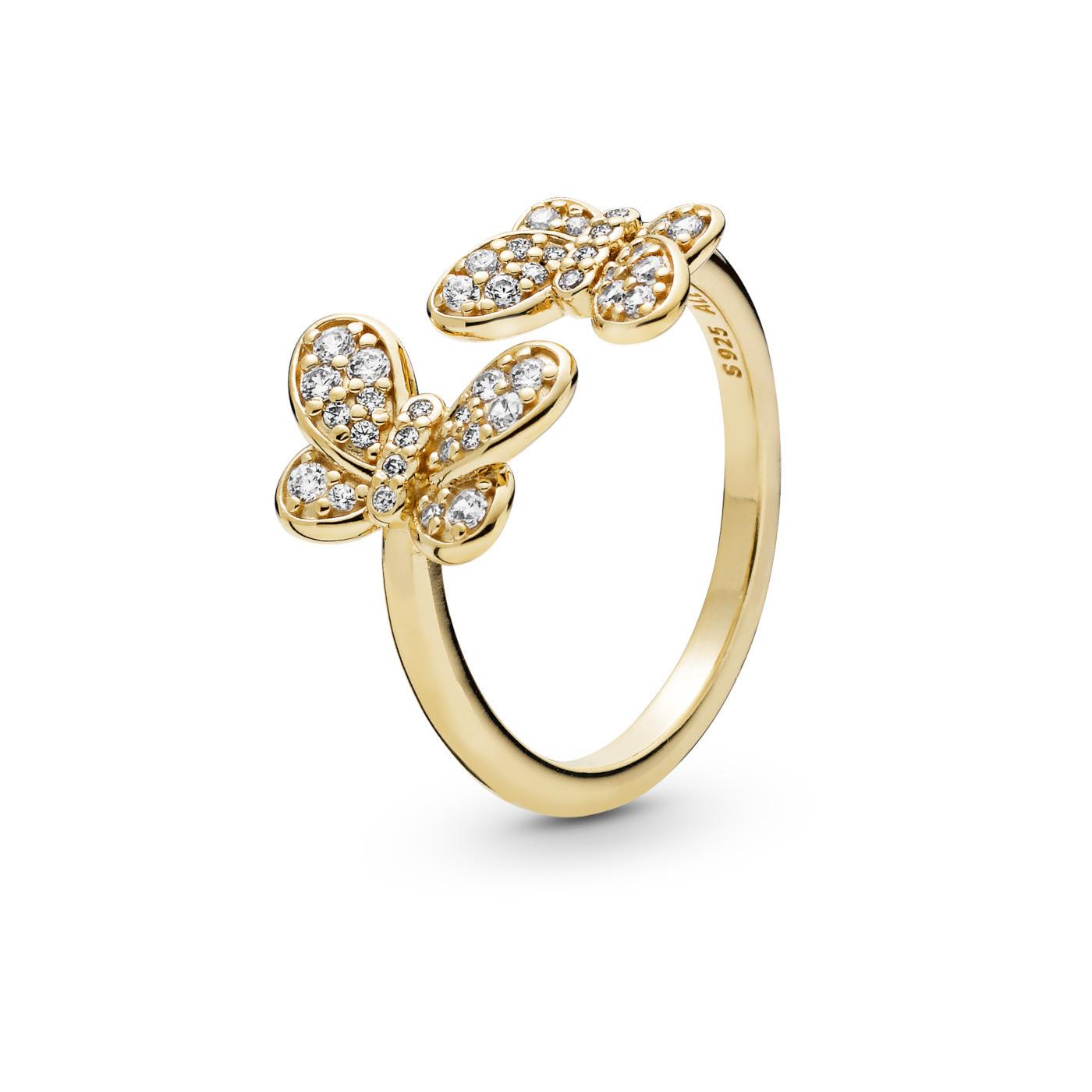 Pandora Stories 925 Sterling Zilveren Goudkleurige Butterfly Shine Ring 167913CZ