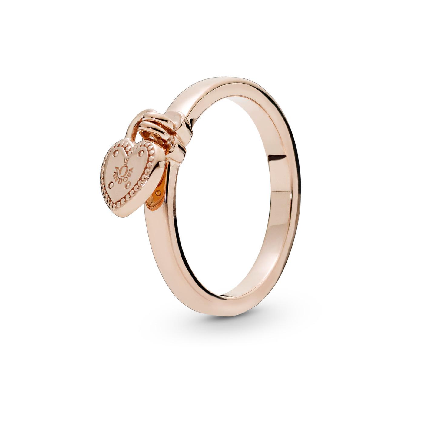 Pandora Stories 925 Sterling Zilveren Rosegoudkleurige Heart Padlock Ring 186571
