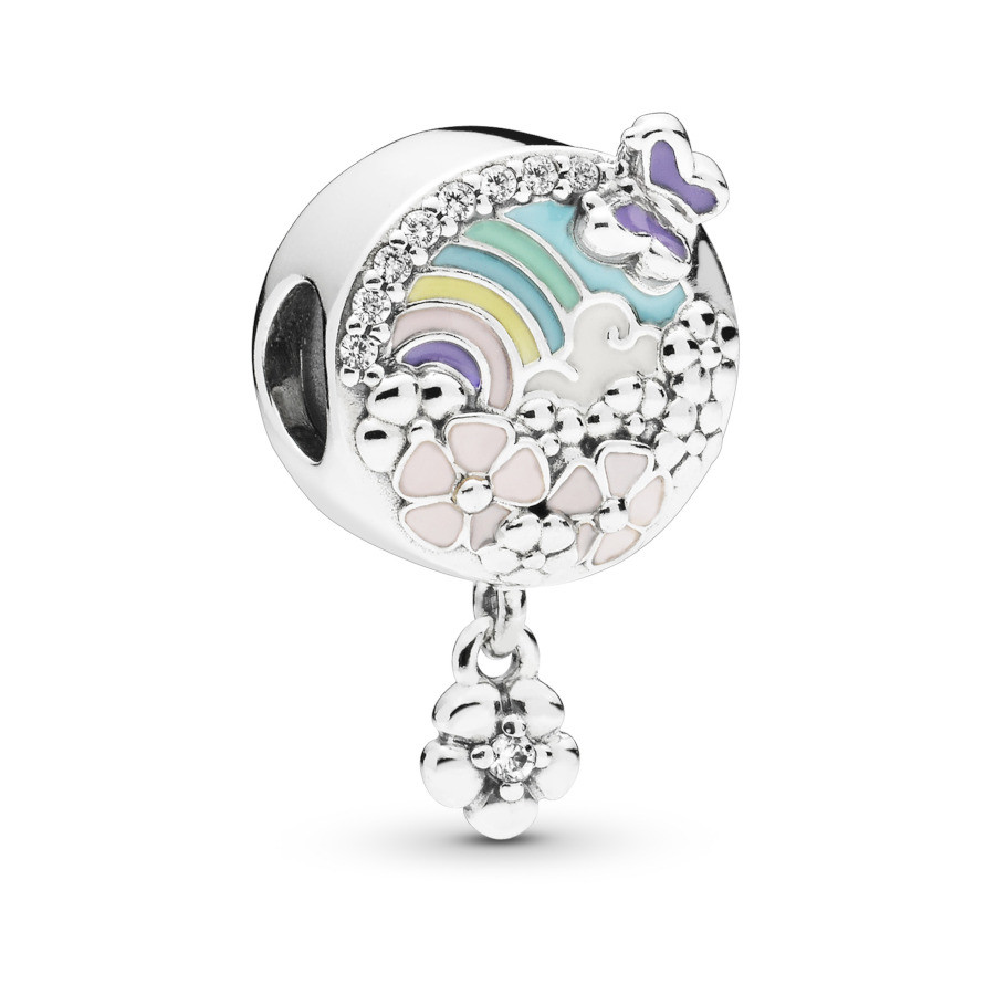 Pandora Moments 925 Sterling Zilveren Flower and Rainbow Bedel 797999ENMX