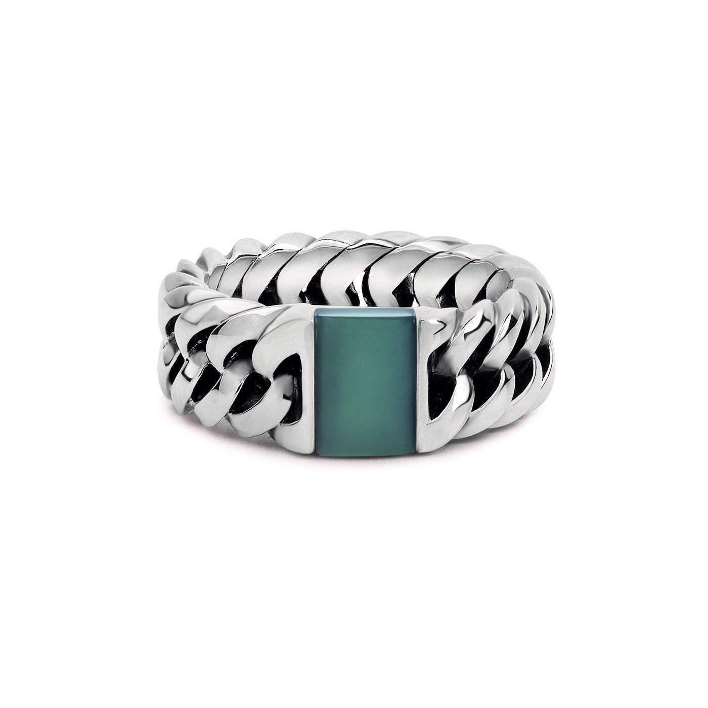 Buddha to Buddha Chain Stone Green Chalcedony Ring 603GR