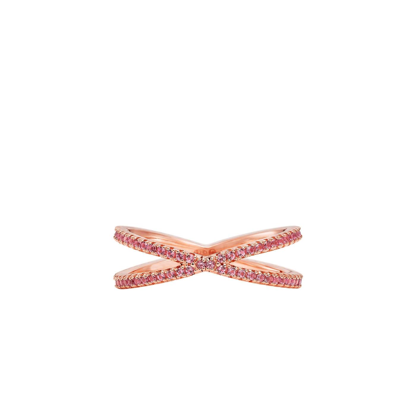 Michael Kors Zilveren Rosegoudkleurige/Rode Custom Ring MKC1112AU791