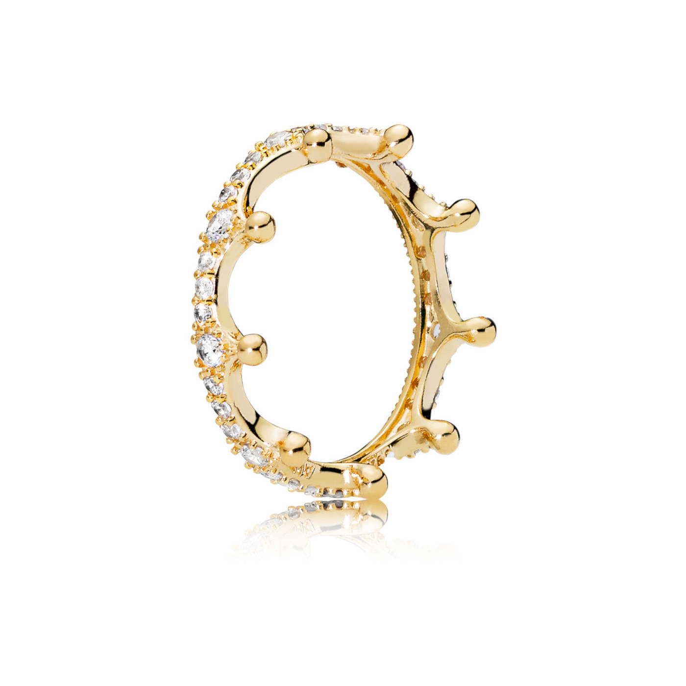 Pandora Stories 925 Sterling Zilveren Goudkleurige Enchanted Crown Ring 167119CZ