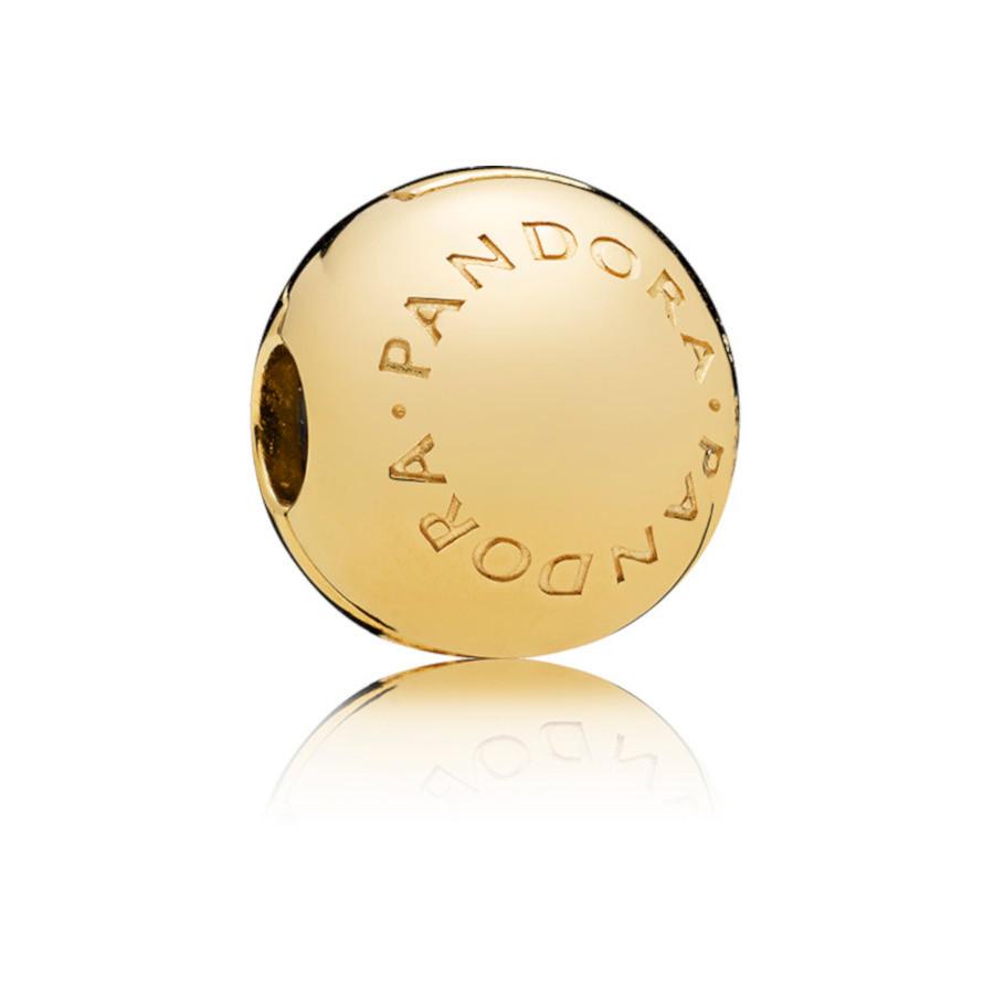Pandora Moments 925 Sterling Zilveren Goudkleurige Logo Bedel 767053