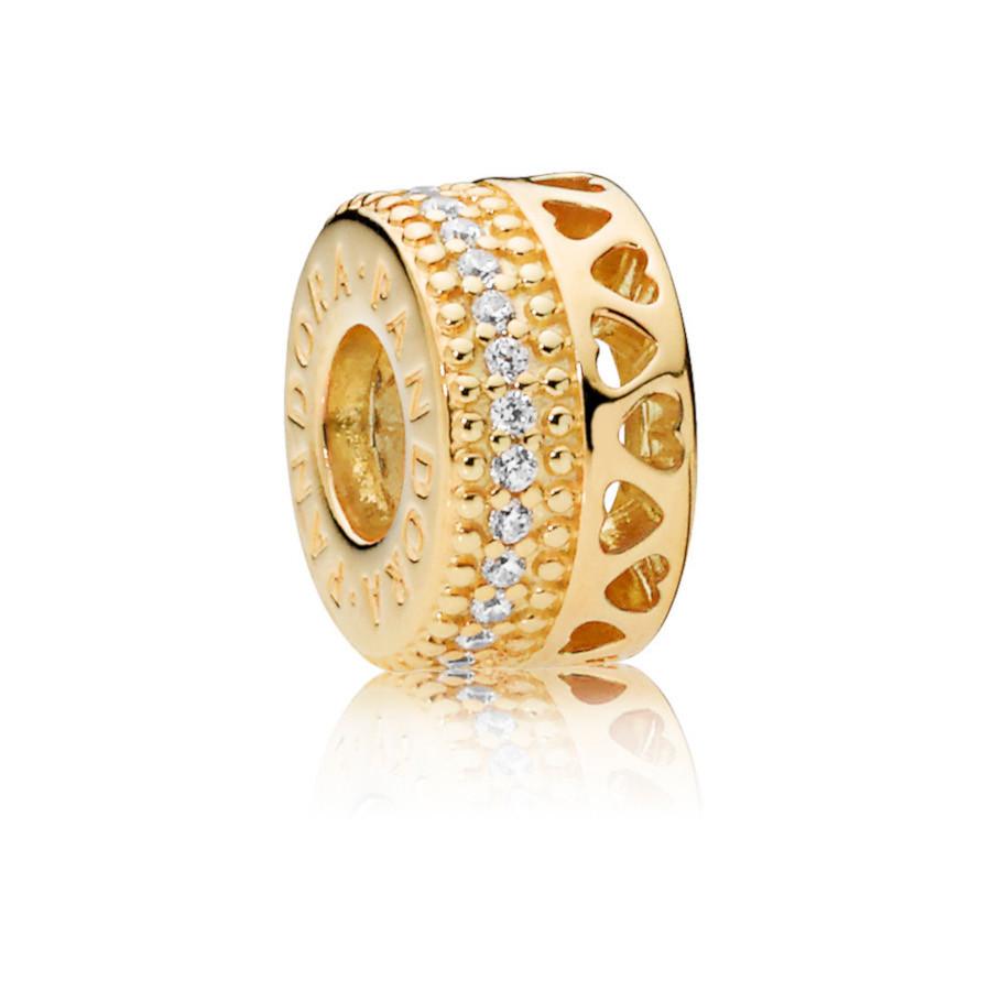Pandora Moments 925 Sterling Zilveren Goudkleurige Hearts Shine Bedel 767415CZ
