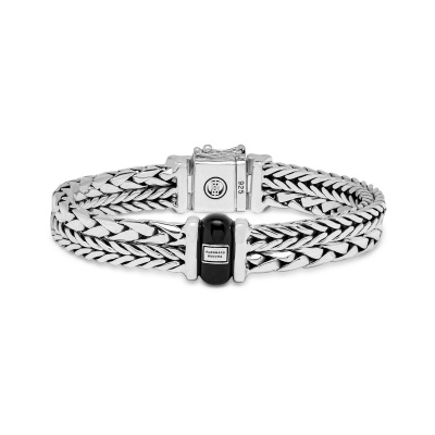 Buddha to Buddha 925 Sterling Zilveren Heritage Barbara George Onyx Armband 105 (Lengte: 18.00-23.00 cm)