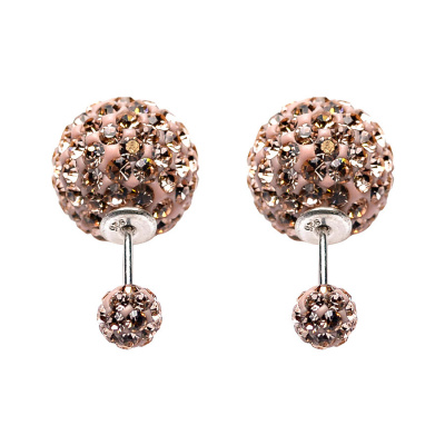 Karma Double Dots Champagne Crystal Oorbellen 11004