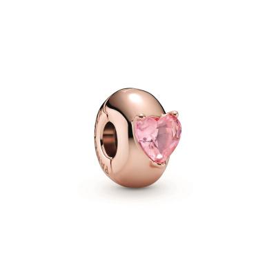 Pandora Colours 925 Sterling Zilveren Roségoudkleurige Heart Solitaire Bedel 789203C01