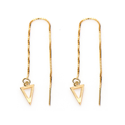 Karma Pull Through Triangle Silver Goldplated Oorbellen M1835