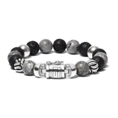 Buddha to Buddha Spirit Bead Mix Grey Picasso Armband BTB188MG (Lengte: 19.00-21.00 cm)