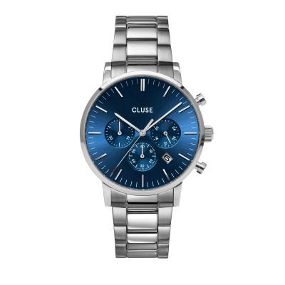 CLUSE Aravis Zilverkleurig/Blauw Chrono horloge CW0101502011