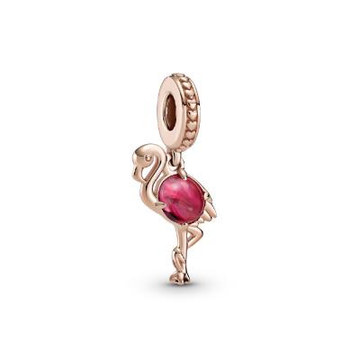 Pandora Places 925 Sterling Zilver Roségoudkleurige Pink Murano Glass Flamingo Bedel 789431C01
