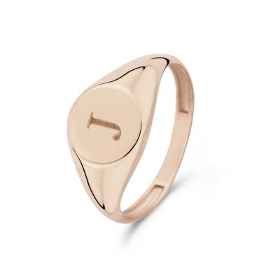 Isabel Bernard La Concorde Lauren 14 Karaat Rosé Gouden Initial Ring IB330036J (Letter: J)