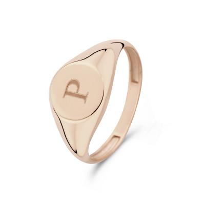 Isabel Bernard La Concorde Lauren 14 Karaat Rosé Gouden Initial Ring IB330036P (Letter: P)