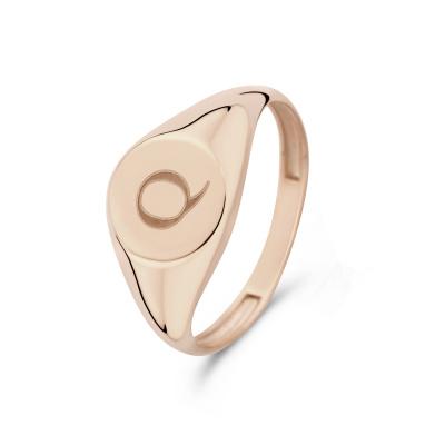 Isabel Bernard La Concorde Lauren 14 Karaat Rosé Gouden Initial Ring IB330036Q (Letter: Q)
