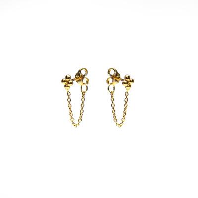 Karma 925 Sterling Zilveren Chain Earrings Goudkleurige 4 Dots Oorknoppen M2122