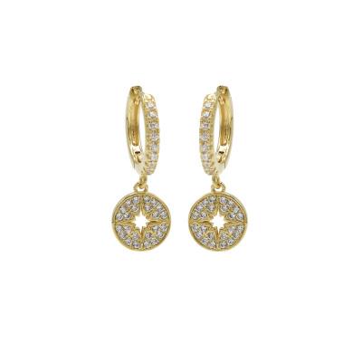 Karma 925 Sterling Zilveren Hinge Hoops Disc Diamond Goudkleurige Oorknoppen M2676HW