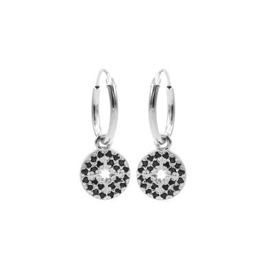 Karma 925 Sterling Zilveren Hoops Symbols Disc Diamond Oorknoppen M2955B