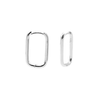 Karma 925 Sterling Zilveren Plain Round Square Oorbellen M3156S