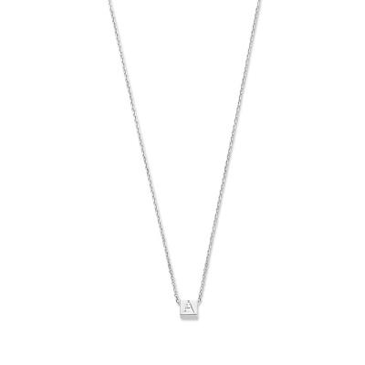 Selected Jewels Julie Chloé 925 sterling zilveren kubus initial ketting  SJ340013