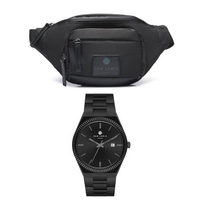 Sem Lewis Sem'S Present Zwarte Heuptas Met Zwart Horloge SL90014