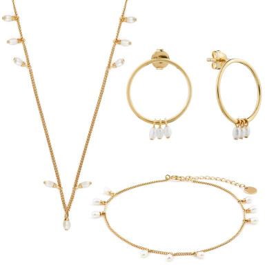 Violet Hamden Luminous Lake 925 Juego de regalo de joyería de plata de ley en color dorado VH90015