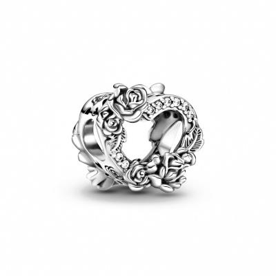 Pandora People 925 Sterling Zilveren Open Heart & Rose Flowers Bedel 799281C01